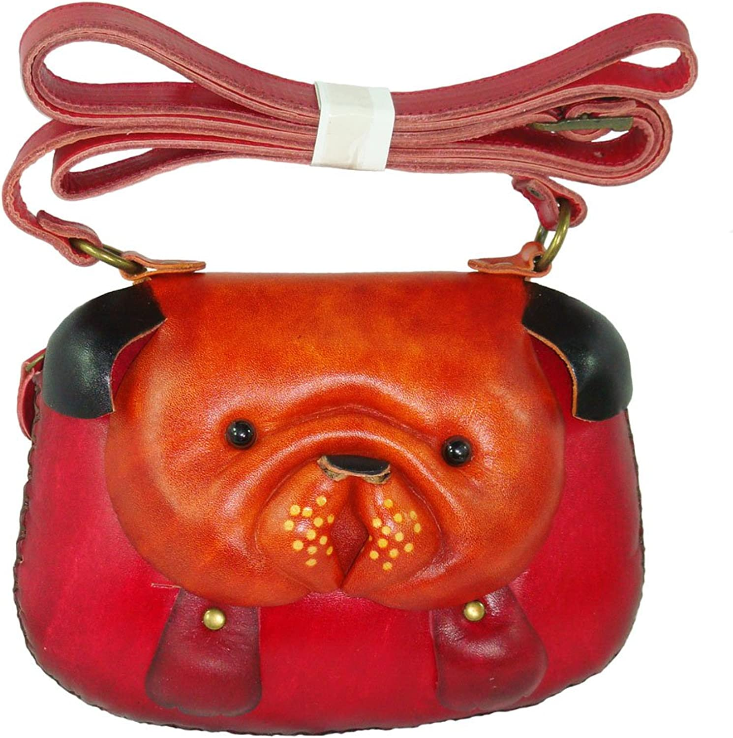 Genuine Leather Shoulder Bag,Bull Dog Face Cover,a Unique Satchel