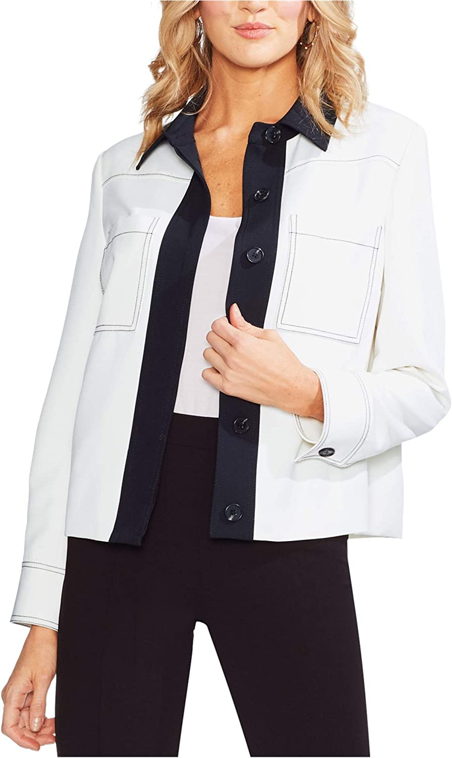 Industry No. 1 Vince Camuto Womens Colorblocked 10 Over item handling ☆ Jacket Off-White