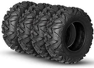 Weize Full Set of 4 ATV Tires 25x8-12 25x8x12 Front & 25x10-12 25x10x12 Rear 6PR Mud,P3501