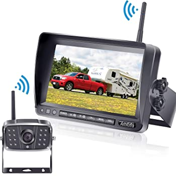 Amtifo FHD 1080P Digital Wireless Backup Camera,Hitch Camera with 7'' DVR Monitor Support Split/Quard Screen for Pickups,Trucks,Trailers,RV,5th Wheels High-Speed Observation System A8