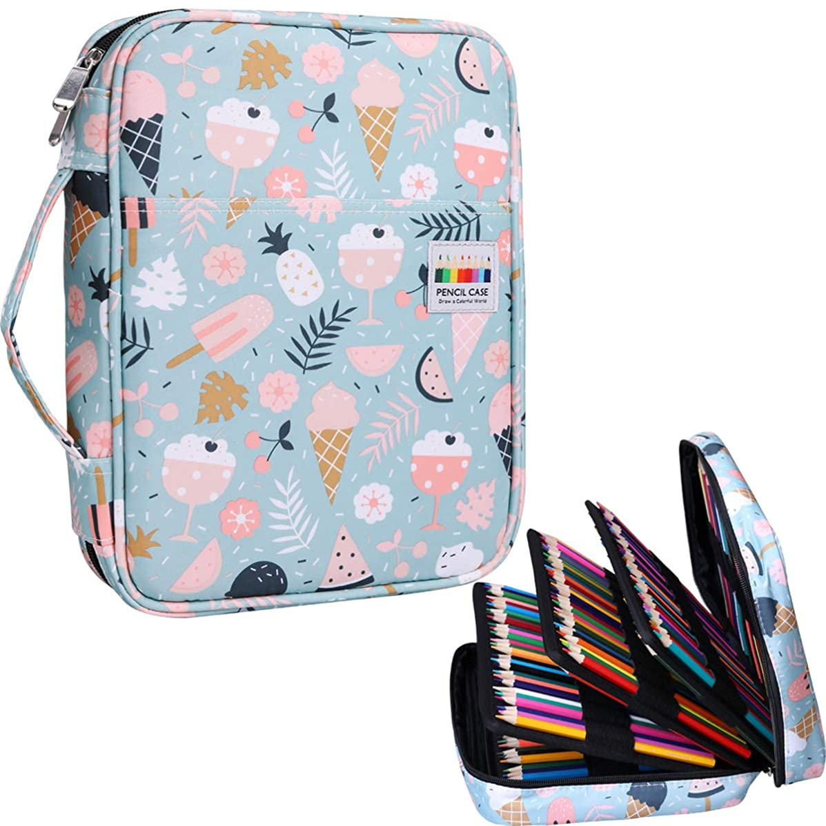220 Colored Pencil Bags Multi-Layer Pencil Case Large Capacity Markers Pen Organizer Watercolor Pen Holder for Students Painter Writers Professional for Storing Various Tool (Ice Cream)