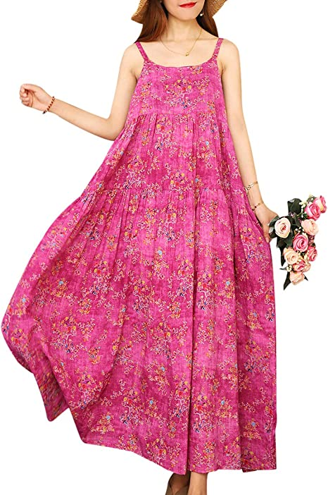 long pink breathtaking summer dress with pattern