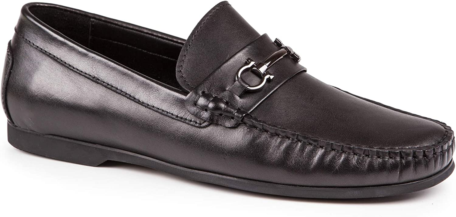Baldi Men's Moscho Black Leather Apron Toe Penny Bit Loafer Flat Platform Comfortable Driving Mocs Moccasin shoes with Strap
