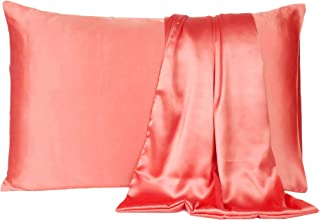Satin Pillow Cover Pillowcase Soft & Comfortable Silky for Hair & Skin Bedroom Decor (Strawberry Pink, Regular Size, 18X27 INCHES)
