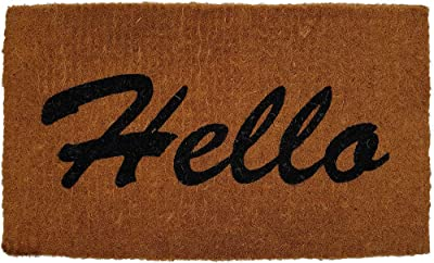 AUSSBOND ACM58470 Handwoven Extra Thick Hello Coir Doormat, 75 cm X 45 cm, Natural/Black