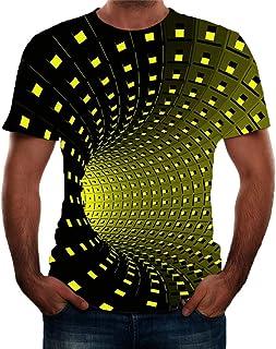 Ackful Fashion Men's 3D Printing Round Neck Short Sleeve Shirt Top Blouse