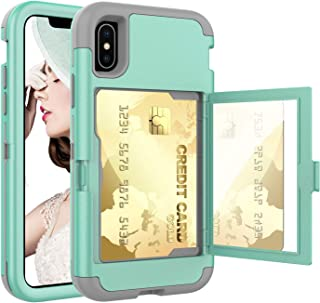 Acxlife iPhone XR Case,XR Wallet Credit Card Holder Case,Shockproof Heavy-Duty Protective Hybrid Cover with Card Slot Holder and Mirror&Kickstand Case for(Green, iPhone xr 6.1 Inch)