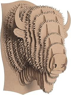 Cardboard Safari Recycled Cardboard Animal Taxidermy Bison Trophy Head, Billy Brown Small