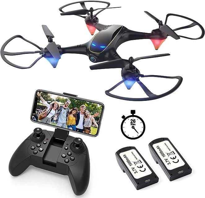 EACHINE E38 Drones con Cámara para Adultos LED Tiempo de Vuelo Largo WiFi FPV 720P 120°FOV HD Video Selfie Drone para Niños y Principiantes Drone para Interiores Exteriores (2 Baterías)