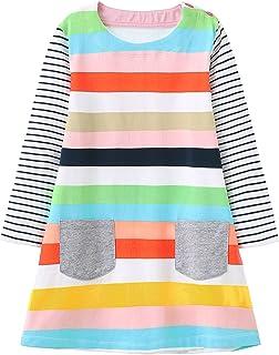 Haydendear Toddler Girls Dresses Striped Long Sleeve