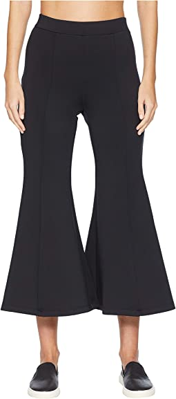 High-Waisted Cropped Neoprene Flare Pants