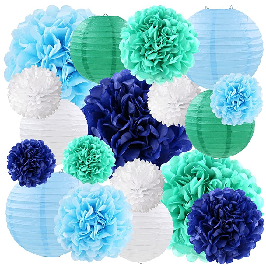 Blue Tissue Paper Pom Poms Flowers Decorations Hanging Paper Lanterns Decorative for Baby Boys Baby Shower Bridal Shower Wedding Birthday Decorations, 18ct