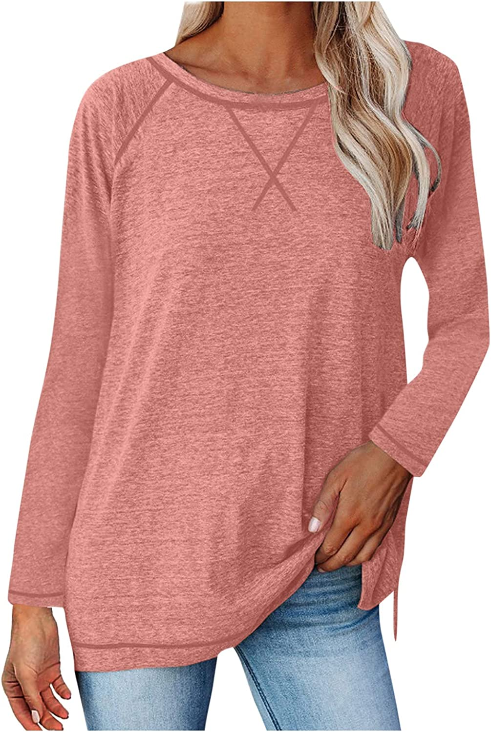 Shirts for Al sold out. Women Basic Solid Color Neck Tops Sleeve Sale O Casua Long