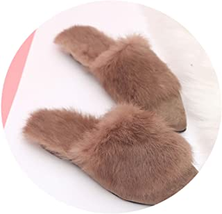 2019 Fashion Women Leather Winter Slippers Ladies Plush Warm Mules Slip On Casual Flat Shoes