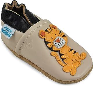 Zapatos de Bebé – Zapatillas de Cuero Niño Niña – Patucos de Piel con Elástico para Bebé - Zapatitos Primeros Pasos - Pant...