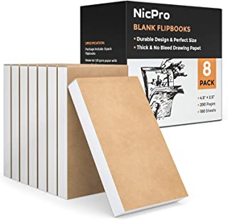 "Nicpro 8 Pack Blank Flipbook Kit 4.5"" x 2.5"" Animation Flip Book Mini Sketch Pad for Drawing & Sketching Cartoon Creation,100 Sheets / 200 Pages"