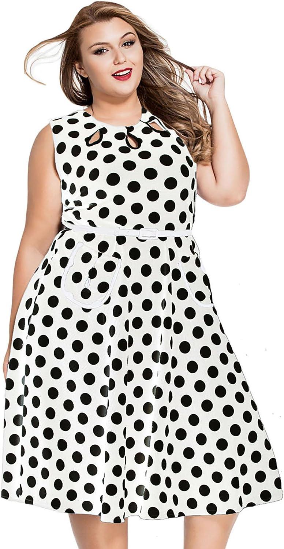 YALI (Dot Seite Reißverschluss Reißverschluss Reißverschluss mit Bund Print Kleid B0741759V8  Vielfalt 584449