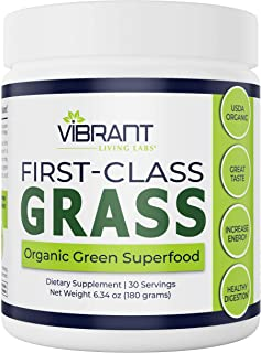 First-Class Grass: 100% Organic Green Superfood with 27 Phytonutrients and Antioxidants + Probiotics, Fiber, and Digestive...