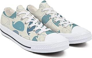 YUIlili Women Print Low Cut Lace Up Sneaker Casual Comfortable Canvas Shoes Flats Walking