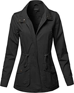 Awesome21 Women's Casual High Neck Military Roll-Up Sleeves Jacket