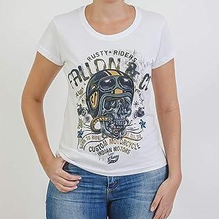 3f02b4728 Camiseta Baby Look Feminina Fallon Born to Ride II Branca