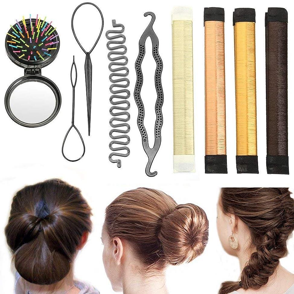 Hair Styling Set, Fashion Hair Design Styling Tools Accessories Hair Bun Maker DIY Hair Accessories Hair Modelling Tool Kit Magic Simple Fast Spiral Hair Braid Tool Donut Bun Maker, Beauty Crown and
