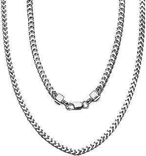ARTURO ZETA مطلي بالروديوم 925 فضة استرليني فرانكو لينك سلسلة قلادة للرجال