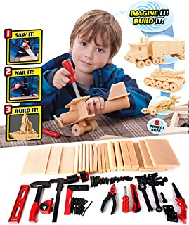 Liberty Imports DIY Deluxe Foam Wood Kids STEM Toys Carpentry Construction Engineering Tool Workshop Kit with 6 Project Ideas (90 Piece Set)