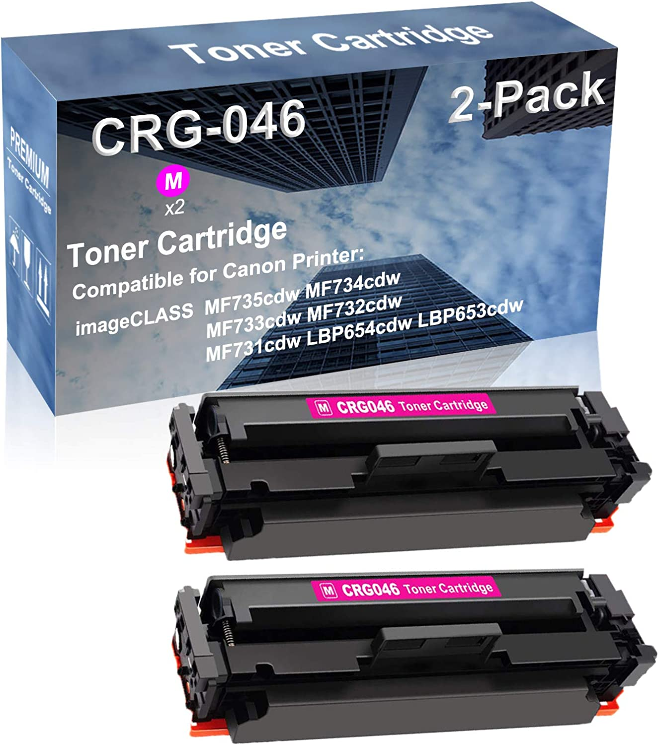 2-Pack (Magenta) Compatible High Yield CRG-046 Laser Printer Toner Cartridge Used for Canon Color imageCLASS LBP654cdw LBP653cdw Laser Printer