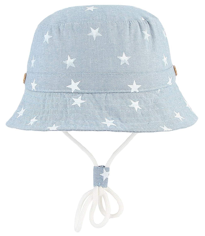 学校会計士バリケード(コ-ランド) Co-land ベビー用ハット つば広 赤ちゃんキャップ キッズ 帽子 子供サンバイザー フィッシャーマンハット 星柄 ジーンズ風 女の子 男の子 男女児 紫外線 UVカット ライト色 48cm