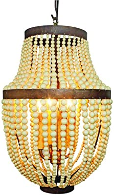 Creme Bead and Iron Faux Bakelite Four Light Chandelier