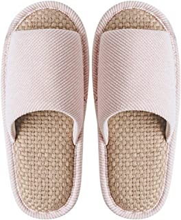 Home Slippers, Shoes for Indoor, Couple Cotton Linen Slippers, Memory Foam Slippers with Anti-Skid Rubber Sole,Pink,S