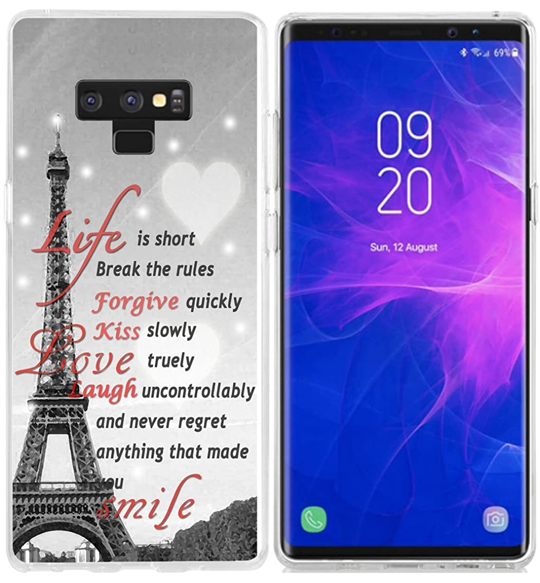 Case for Galaxy Note 9 - Topgraph [Anti-Scratch Shock Rubber Slim Fit Clear with Design Full Coverage] Replacement Bumper Compatible for Samsung Note 9 [Eiffel Tower Durable]
