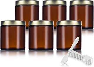 Amber Thick Glass Straight Sided Jar with Gold Metal Airtight Lid - 4 oz / 120 ml (6 pack) + Spatulas
