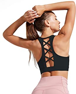 ulsfaar Women High Impact Sports Bra Removable Padded Strappy Workout Running Gym Yoga Top