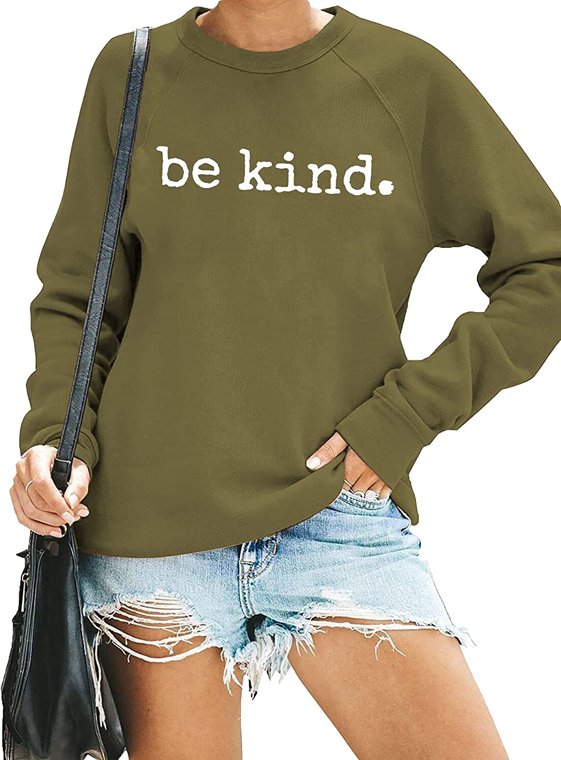 Women's Be Kind Sweatshirt Kindness Graphic Shirt Top Loose fit Crewneck Long Sleeve Pullover Blouse