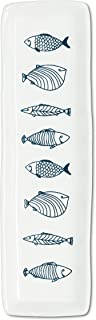 Abbott Collection 27-CORFU-770 Long Slim Fish Plate, White/Blue