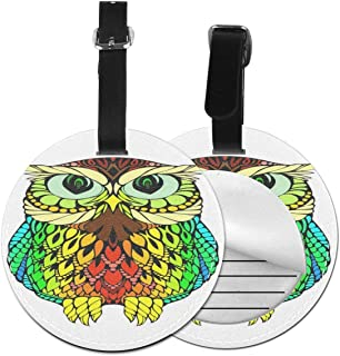 Round Luggage Tags Colorful Owl PU Leather Suitcase Labels Bag