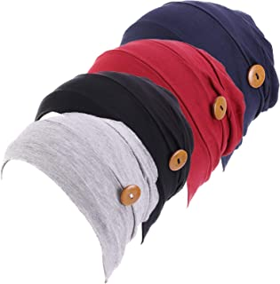 Qianmome 2-4 Pack Beanie with Button for Women Men Nurse,Working Hat,Chemo Caps for Cancer Patients