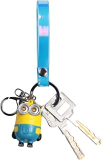AIGEAR Keychain with Color Change PU Rubber Finger Band for Kids Included LED Light and Sound Pendant of Minions (AG702)