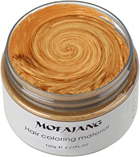 MOFAJANG Hair Color Wax, KooJoee Temporary Hair Dye Easy Wash Hairstyle Cream 4.23 oz Disposable Hair Pomades, Natural Matte Hair Modeling Wax for Party Cosplay Nightclub Masquerades Halloween (Gold)