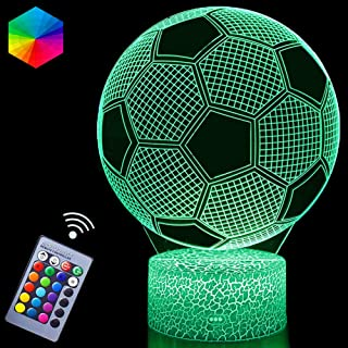 3D Soccer Night Lights Illusion LED Lamps Remote Controller USB Powered RGB Colors Changeable Gifts for Boys Football Love...