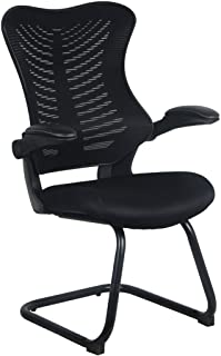 Office Factor Ergonomic Reception Guest Chairs with Flip Up Arms – Comfortable Mesh, Ergonomic Contour, Flippable Armrests – Modern Convertible Furniture for Visitors, Meeting Groups (Black)