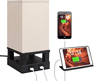 Bedside Table Lamp with Dual USB Charging Ports, Dicoool Modern Wood Frame Nightstand Lamp with Fabric Shade, Perfect for Bedroom, Living Room