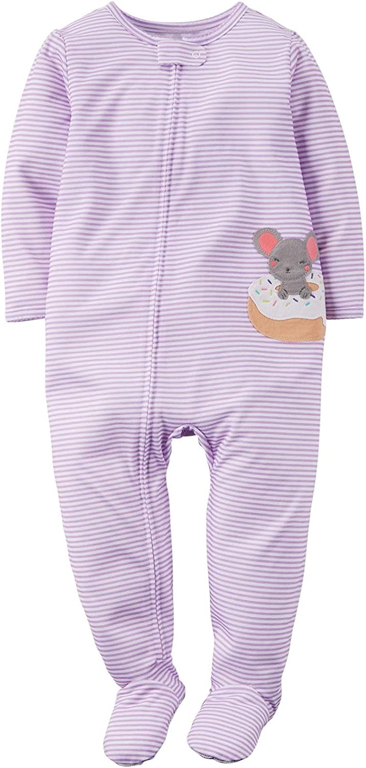 Carter's Little Girls' Striped Graphic Footie (Toddler) - Mouse in a Donut - 5T