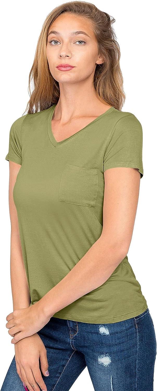 G-Style USA Women's Short Sleeve V-Neck Athletic Spandex T-Shirt Top