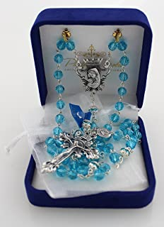8mm Diamond-Cut Aqua (Aquamarine) Crystal Bead Rosary (designed by Paola Carola) with Miraculous Medal dangle and White Organza Bag in Deluxe Rosary Gift Box