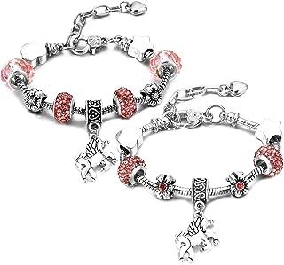 2 braccialetti con unicorno, fantasia, per donna e ragazza, stile vintage, con ciondolo in cristallo Aritificiel rosa, per...