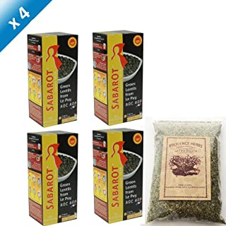 Sabarot French Green Lentils From Le Puy AOC - 500g - 16.6 Oz (4 Pack)