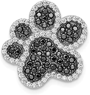 925 Sterling Silver Black/white Cubic Zirconia Cz Paw Print Pendant Charm Necklace Animal Dog Fine Jewelry Gifts For Women For Her